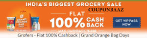 Grofers 100% Cashback Sale