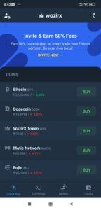 Wazirx Main Page